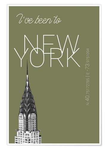 Premiumposter Popart New York Chrysler Building I have been to Color: calliste green