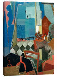 Canvastavla  Window view with pipe, glass and tiled floor - Oskar Moll