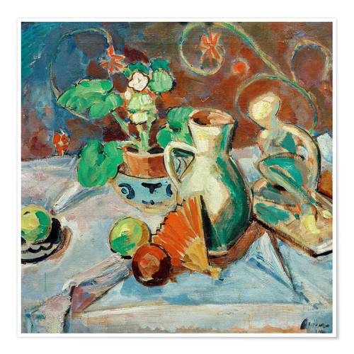 Premiumposter Still life with a white pitcher, plastic, fans and oranges