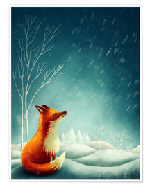 Premiumposter Fox in winter