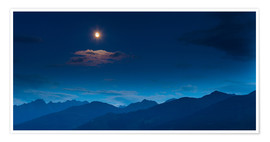Premiumposter Moon over mountains