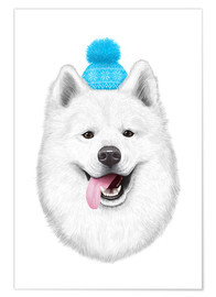 Premiumposter Samoyed with bobble hat
