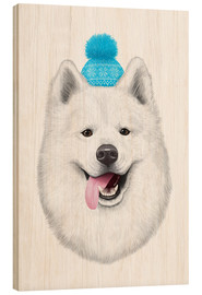 Trätavla  Samoyed with bobble hat - Valeriya Korenkova