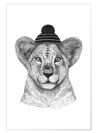 Poster Lion child with cap
