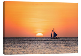 Canvastavla  Sailboat in the sunset