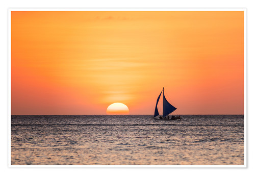 Premiumposter Sailboat in the sunset