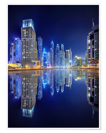 Premiumposter Dark blue night - Dubai Marina bay