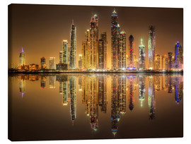 Canvastavla  Reflections in Dubai marina bay