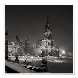 Premiumposter  Dresden Hofkirche in winter