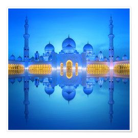 Premiumposter  Sheikh Zayed Grand Mosque in blue