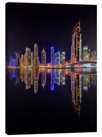 Canvastavla  Dubai marina in deep black