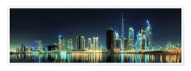 Premiumposter Panorama of the business houses of Dubai