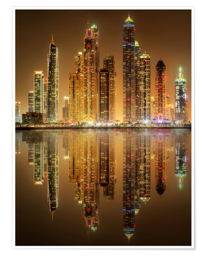 Premiumposter Lighting the Dubai Marina Bay