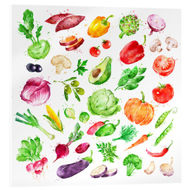 Akrylglastavla  Fruits and vegetables watercolor