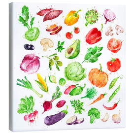 Canvastavla  Fruits and vegetables watercolor