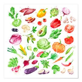 Premiumposter  Fruits and vegetables watercolor