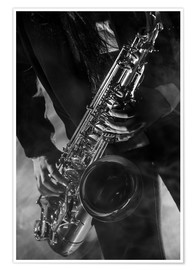 Premiumposter  Close up of a saxophonist