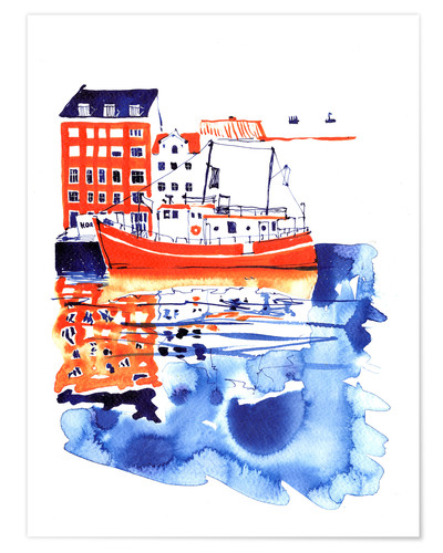 Premiumposter Copenhagen canal and harbour