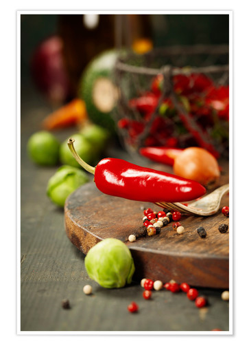 Premiumposter Chilli pepper and cooking ingredients