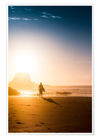 Poster Silhouette of a surfer on the beach