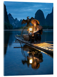 Akrylglastavla  Old cormorant fisherman in Guilin, China - Jan Christopher Becke