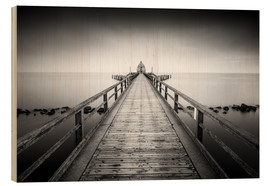Trätavla  Pier Sellin | black-white (Rügen / Baltic Sea) - Kristian Goretzki