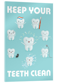 Akrylglastavla  Keep your teeth clean - Kidz Collection
