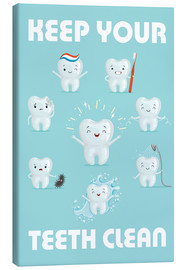 Canvastavla  Keep your teeth clean - Kidz Collection