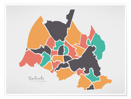 Premiumposter Karlsruhe city map modern abstract with round shapes