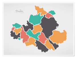 Premiumposter Dresden city map modern abstract with round shapes