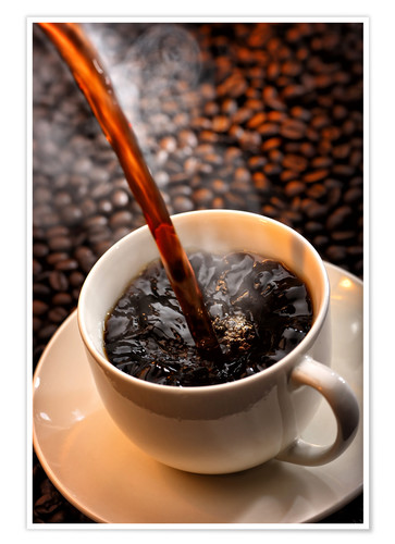 Poster Pouring cup of hot coffee