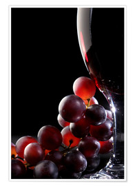 Premiumposter  Red grapes and glass of wine - Johan Swanepoel