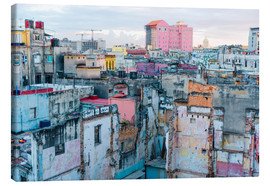 Canvastavla  Authentic view of a street of Old Havana