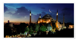Premiumposter View of Hagia Sophia after sunset