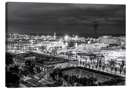 Canvastavla  Beautiful view over the Port of Barcelona