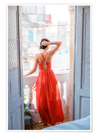 Premiumposter  Young attractive woman in red dress