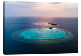 Canvastavla  Islands at sunset in the Maldives - Matteo Colombo