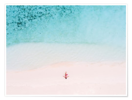 Premiumposter  Drone view of woman on the beach, Maldives - Matteo Colombo