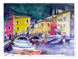 Premiumposter Lake Garda, harbor in Cassone