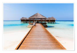 Premiumposter  Jetty and overwater bungalows, Maldives - Matteo Colombo