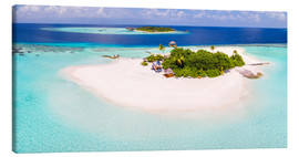 Canvastavla  Aerial view of island in the Maldives - Matteo Colombo