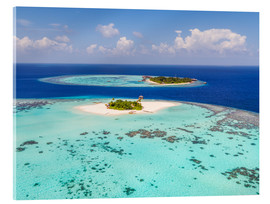 Akrylglastavla  Aerial view of islands in the Maldives - Matteo Colombo