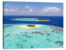 Canvastavla  Aerial view of islands in the Maldives - Matteo Colombo