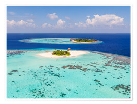 Premiumposter  Aerial view of islands in the Maldives - Matteo Colombo