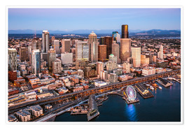 Premiumposter Aerial view of Seattle skyline, USA