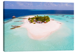 Canvastavla  Drone view of paradise island, Maldives - Matteo Colombo