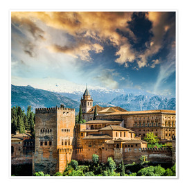 Premiumposter  View of the famous Alhambra
