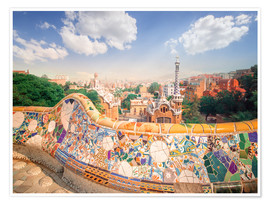 Premiumposter  The Park Guell in Barcelona