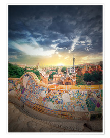 Premiumposter  The famous park Guell in Barcelona