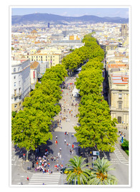 Premiumposter  Barcelona and Las Ramblas with the Columbus Column